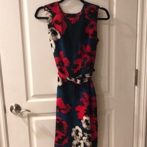 Samantha Sung floral midi dress with belt